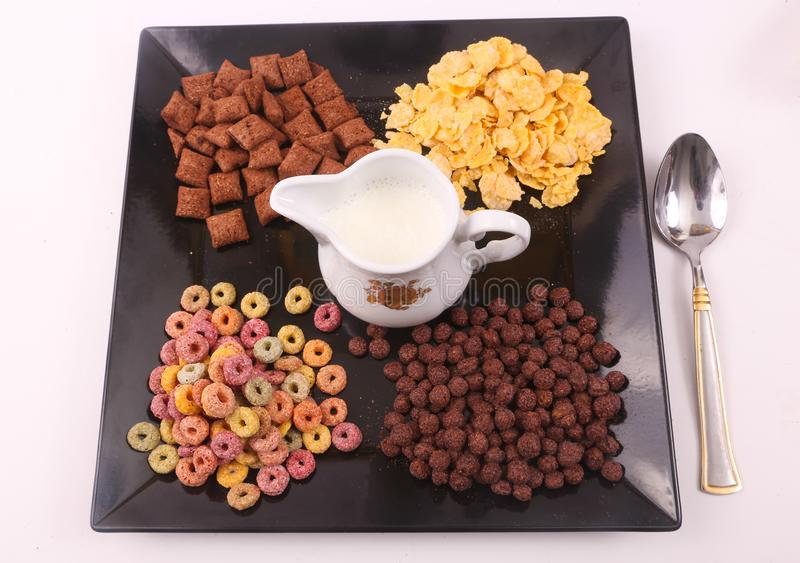 Breakfast meal - milk and cereals stock photography