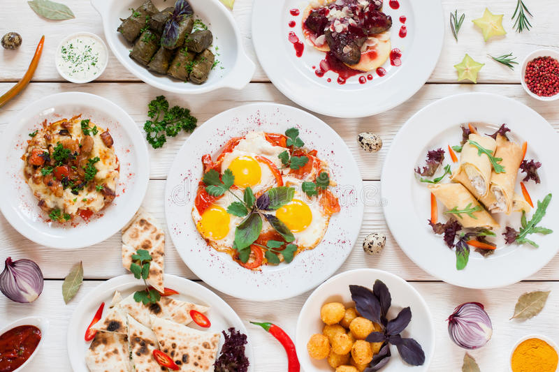 Download Breakfast Meals Variety In Restaurant Flat Lay Stock Photo