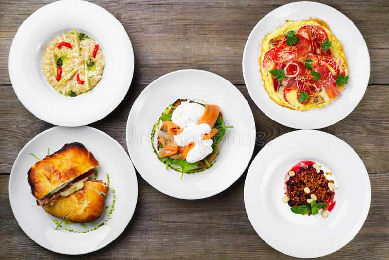 Breakfast meals variety, restaurant menu photo stock photos