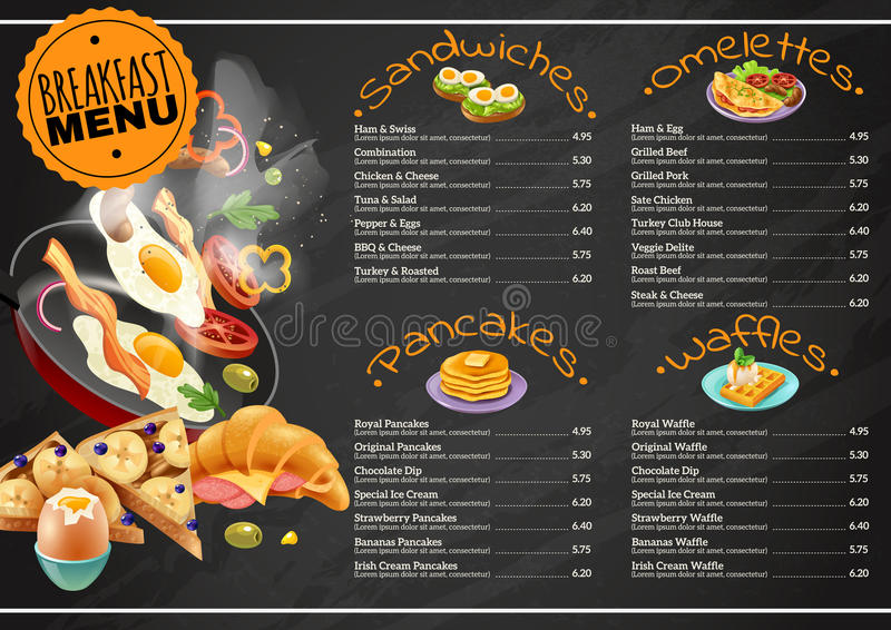 Breakfast Menu On Chalkboard stock illustration