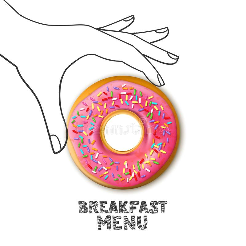 Breakfast menu concept. Pink donut in hand drawn human hand isolated on white background. Vector food illustration. stock illustration