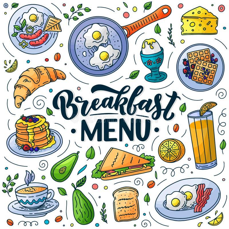 Breakfast menu design elements. Vector doodle illustration. Calligraphy lettering and traditional breakfast meal vector illustration