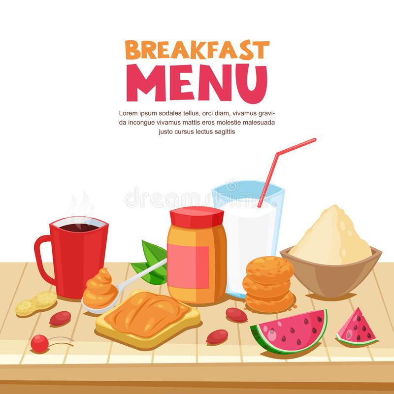 Breakfast menu design, vector cartoon illustration. Peanut butter sandwich, tea, coffee mug, oatmeal on wooden table. vector illustration