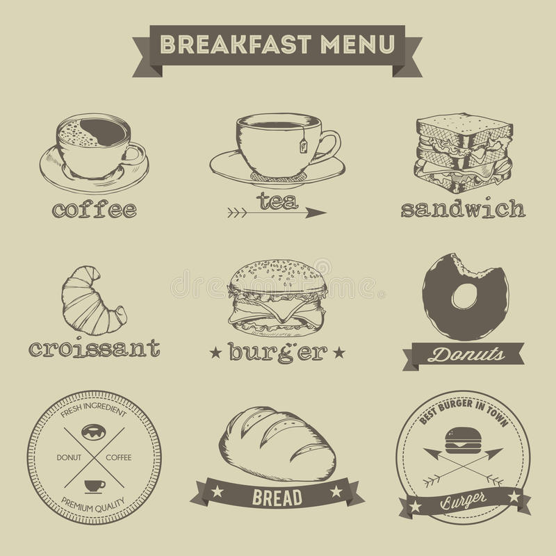 Free Breakfast Menu Hand Drawing Style Stock Photography - 47186972