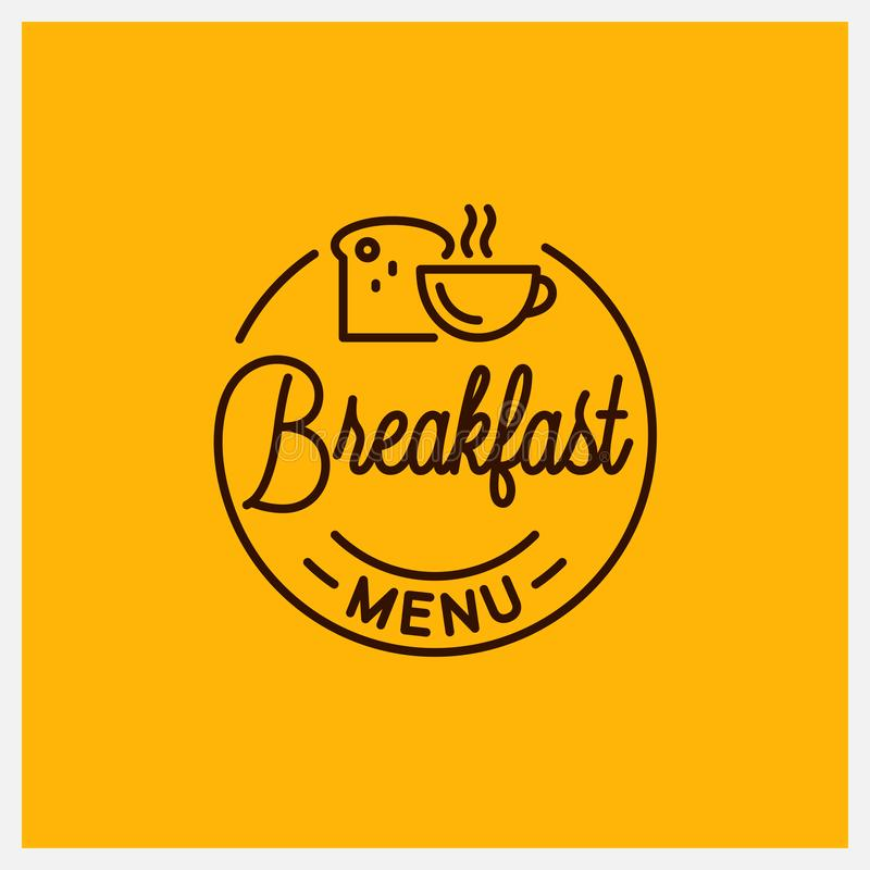 Free Breakfast Menu Logo. Round Linear Of Coffee Cup Royalty Free Stock Photos - 160591708