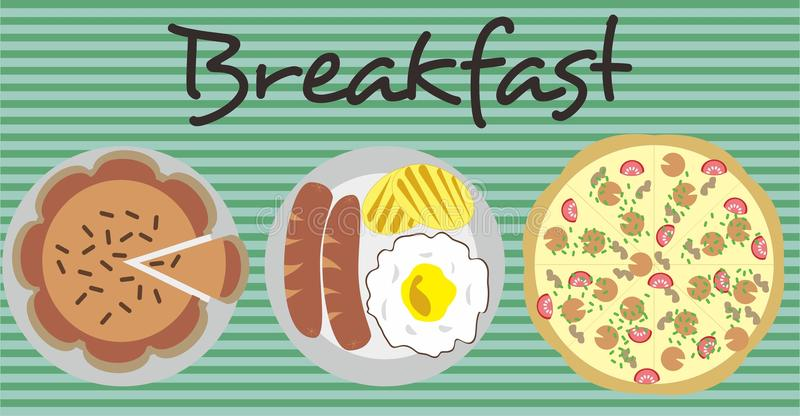 Breakfast menu pie and pizza vector illustration royalty free stock image