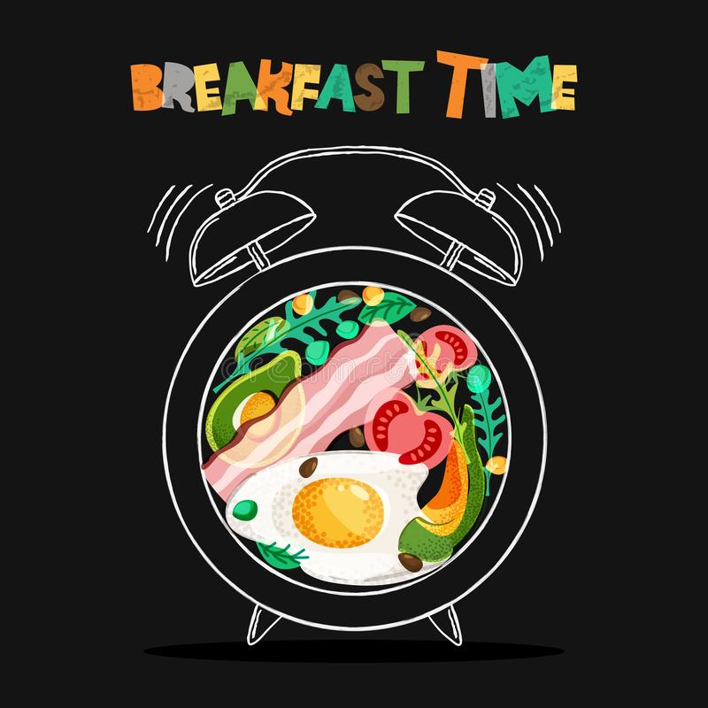 Breakfast menu vector design. Fried eggs, bacon on plate with alarm clock on black background. Breakfast time concept. royalty free illustration