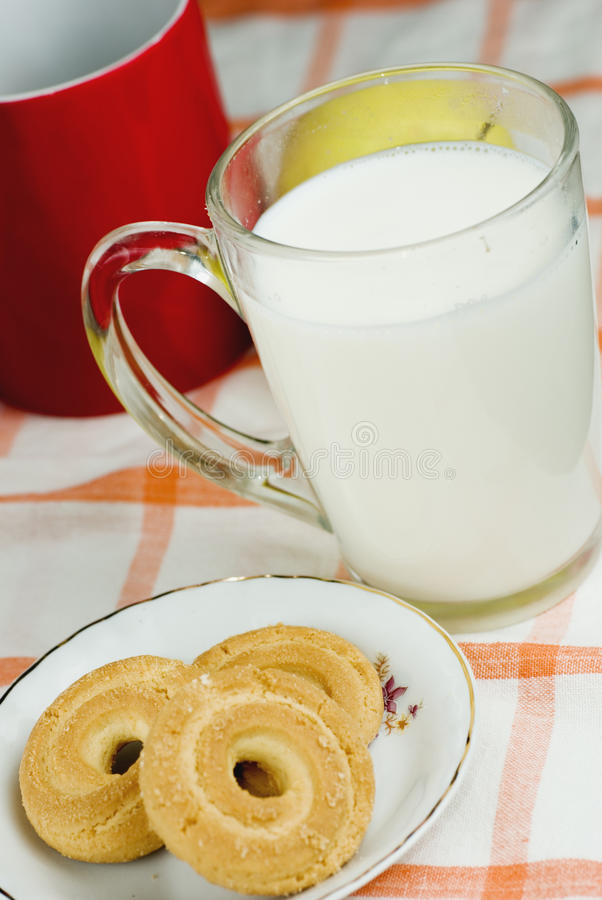 Download Breakfast With Milk And Biscuit Royalty Free Stock Photos - Image: 13172128