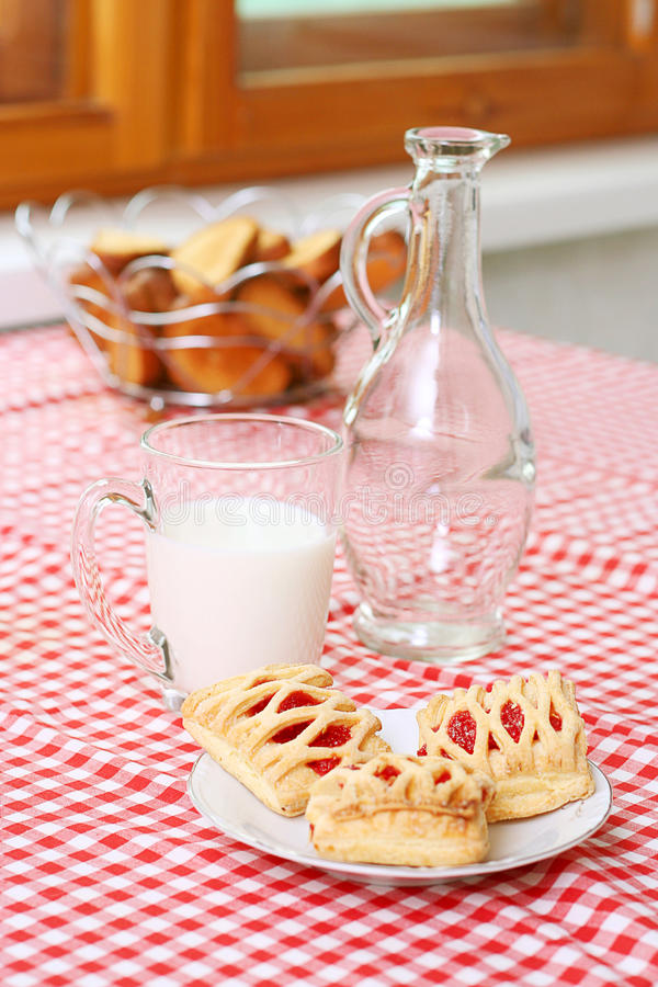 Breakfast with milk and cake stock photography