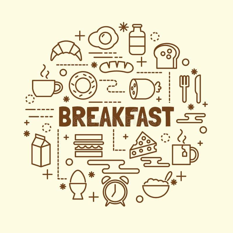 Breakfast minimal thin line icons set royalty free illustration