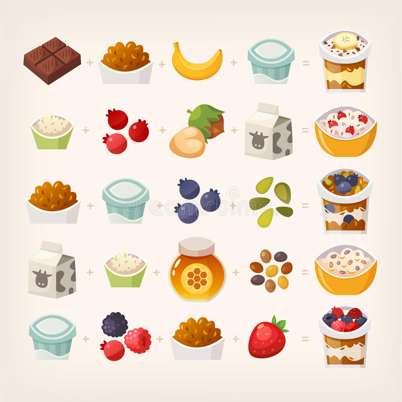 Breakfast mix of food. Combinations of food products that make delicious breakfast. Do the math! Illustration of vector breakfast meals vector illustration