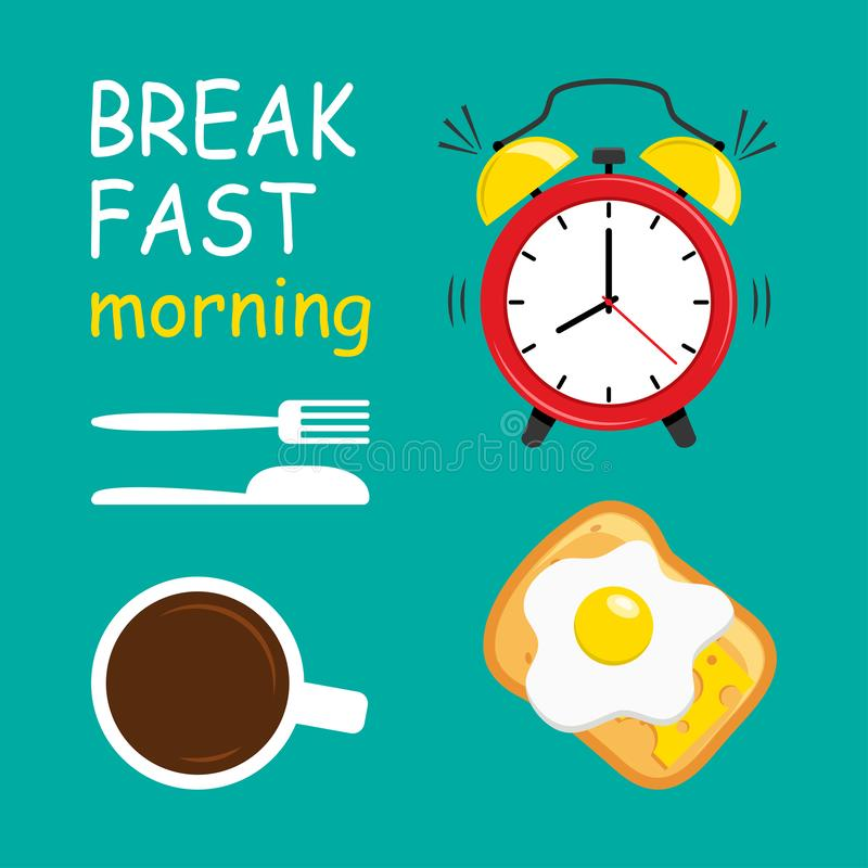 Breakfast morning. Alarm clock, coffee, fried eggs, cheese and bread, fork and knife. Vector royalty free illustration