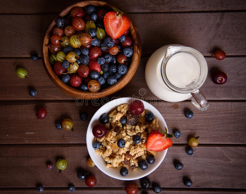 Breakfast of muesli and berries. View from above royalty free stock images