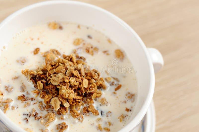 Breakfast - Muesli With Milk Stock Photos