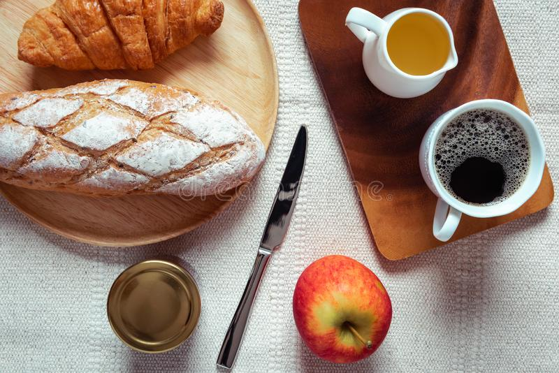 Breakfast Natural Vegetarian Food With Sourdoughs Bread Bakery, Coffee, Honey, Croissant, Apple Fruit on Table., Homemade Fresh royalty free stock photography
