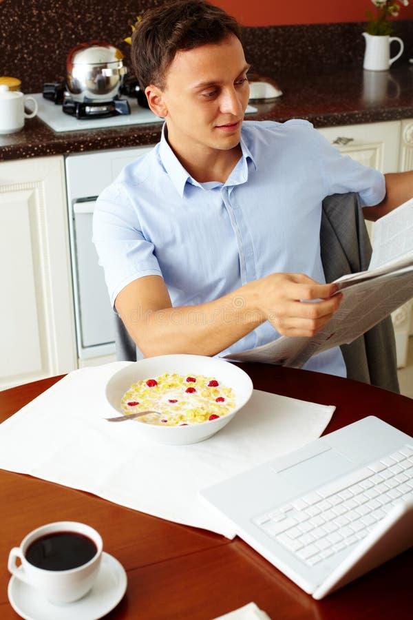 Download Breakfast newspaper stock image. Image of bowl, health - 27380533