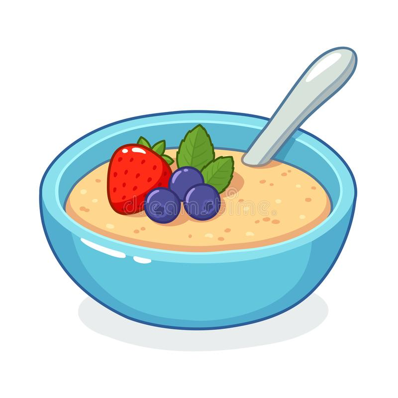 Breakfast oatmeal bowl. With berries. Traditional cereal porridge with fruit, vector clip art illustration stock illustration