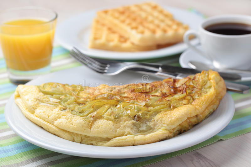 Breakfast with omelet stock images