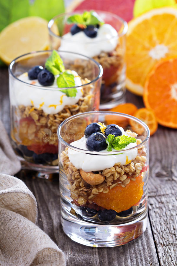 Breakfast Parfait With Oranges, Granola, Yogurt Stock ...