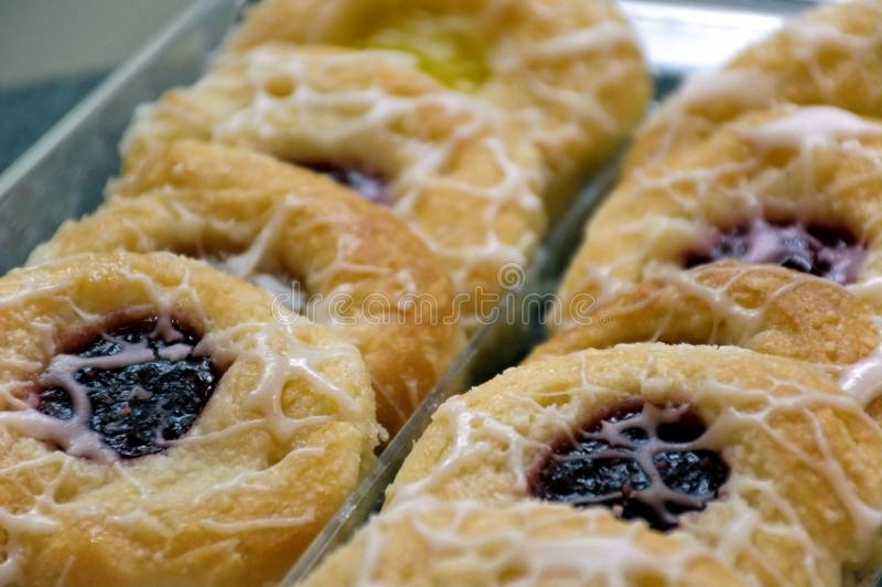 Breakfast Pastries. A tray of assorted danish breakfast pastries stock image