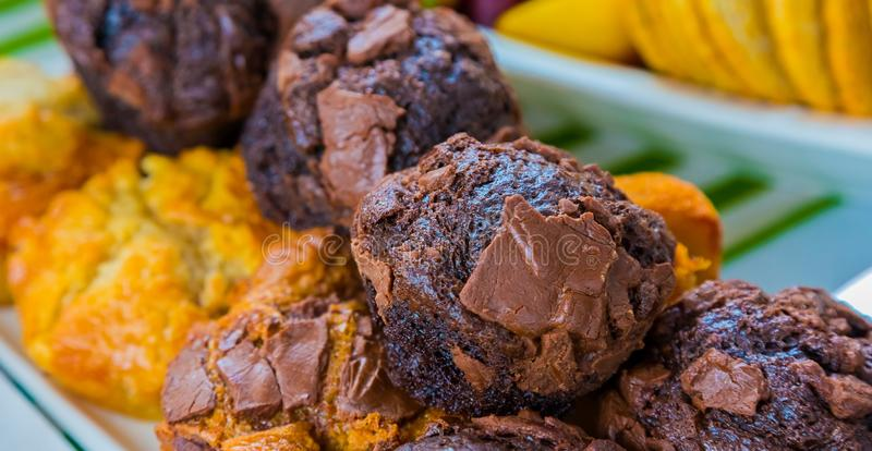Breakfast pastry chocolate muffin at Spring Festival picnic event. Brunch stock photography