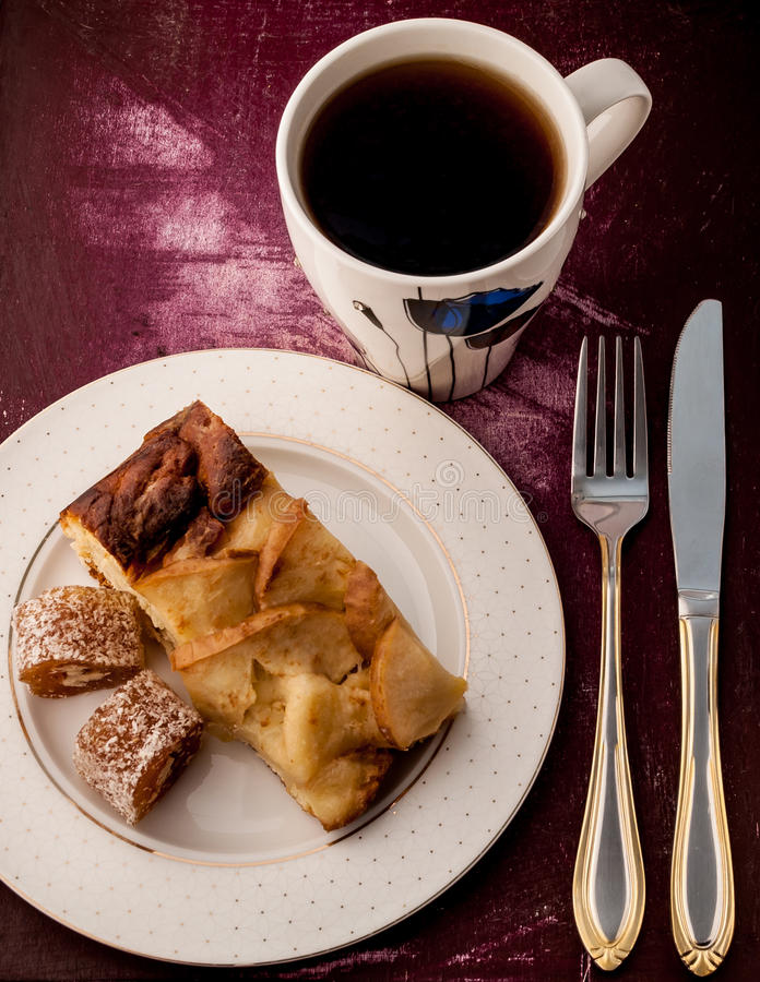 Breakfast pie and tea royalty free stock photography
