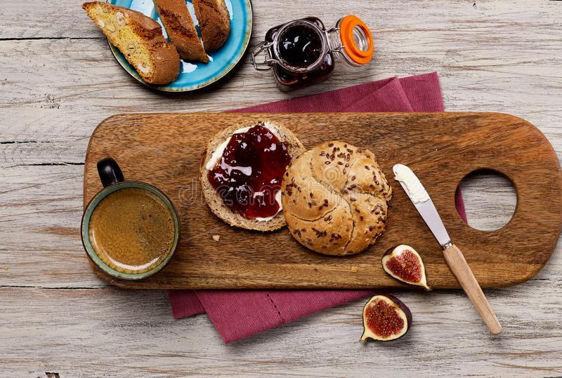 Breakfast plate from above stock photos