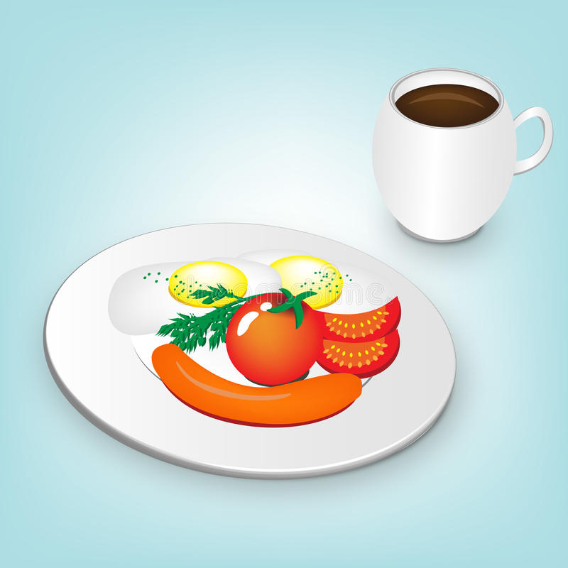 Breakfast plate and coffee vector illustration