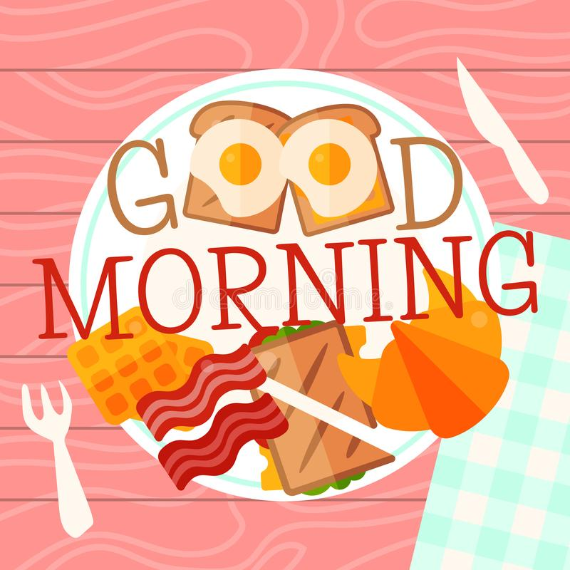 Breakfast plate concept vector illustration. Hearty breakfast of fried eggs and bacon with fsandwich, croissant and. Breakfast plate concept banner vector stock illustration