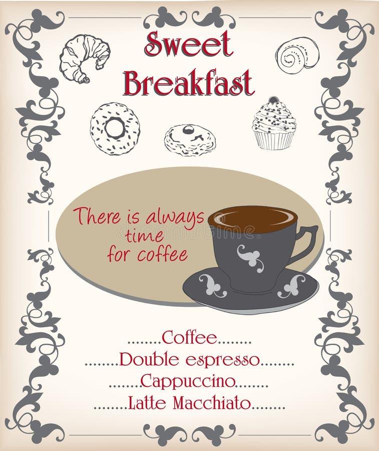 Download Breakfast poster stock illustration. Image of cinnamon - 39784876