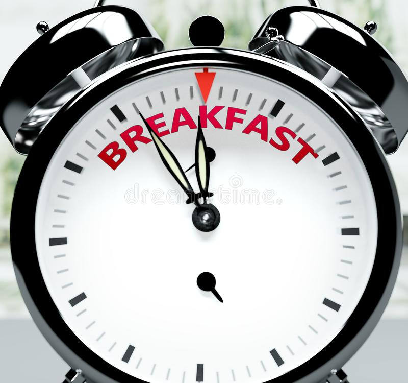 Breakfast, quase lá, em pouco tempo - um relógio simboliza um lembrete de que o Breakfast está perto, acontecerá e terminará rapi ilustração royalty free