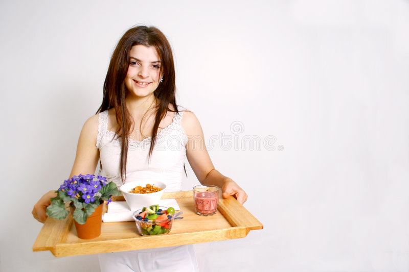 Download Breakfast is ready stock photo. Image of relaxing, brunette - 4137962