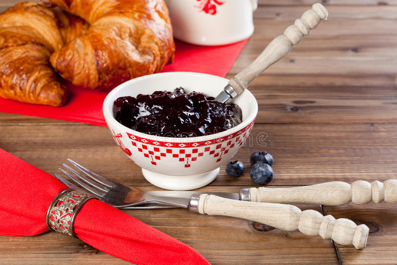 Breakfast with red napkins royalty free stock photo