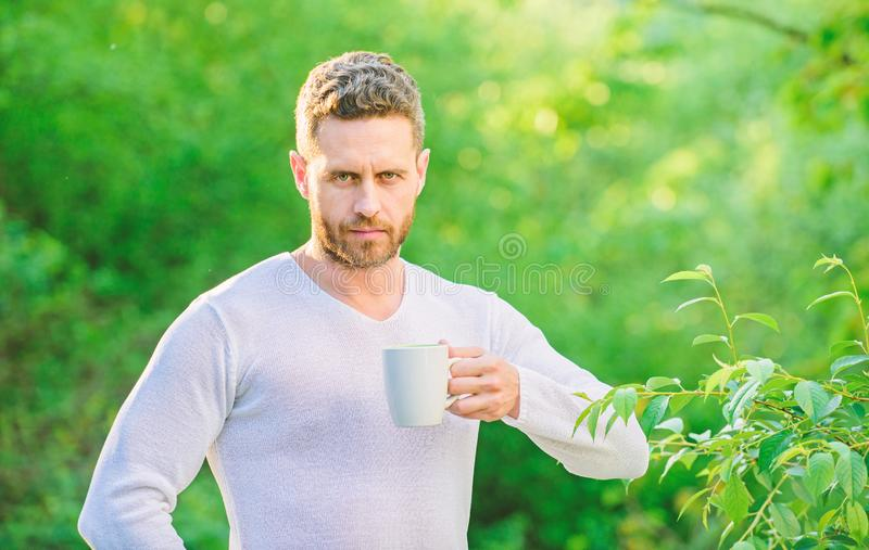 Breakfast refreshment time. ecological life for man. man in green forest. drink tea outdoor. serious man with cup of tea stock photos