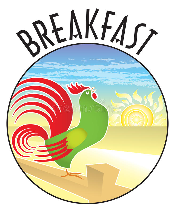 Breakfast Rooster Sunrise. Rooster crowing, on a country farm fence post with sunrise behind. Time for breakfast! This retro-modern illustration is useful in a vector illustration
