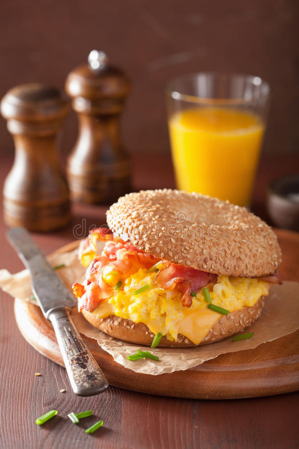 Breakfast sandwich on bagel with egg bacon cheese stock photos