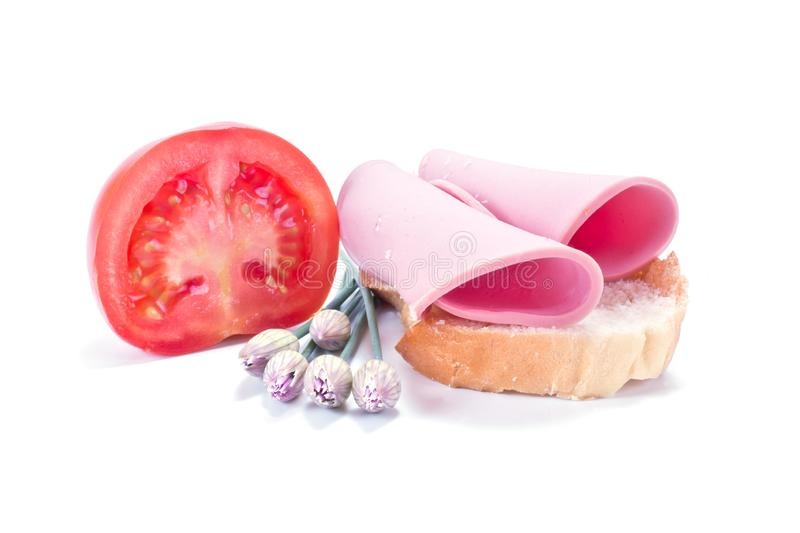 Breakfast with sandwich and tomato royalty free stock image