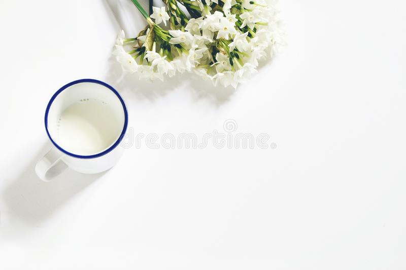 Breakfast scene. Spring composition with mug of milk and bouquet of narcissus, daffodil flowers on white wooden table stock photos