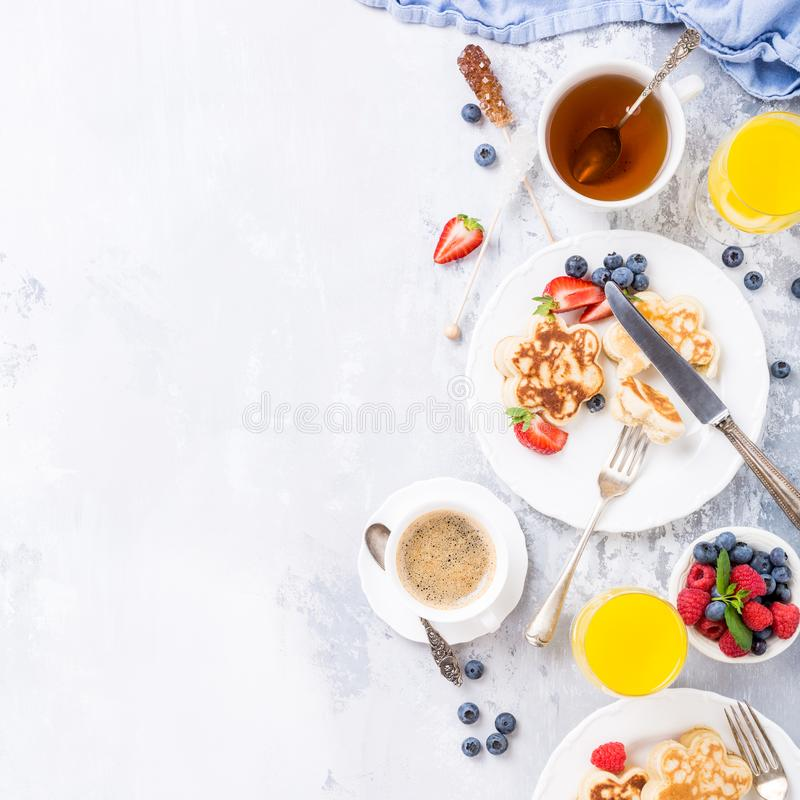 Breakfast with scotch pancakes royalty free stock photos