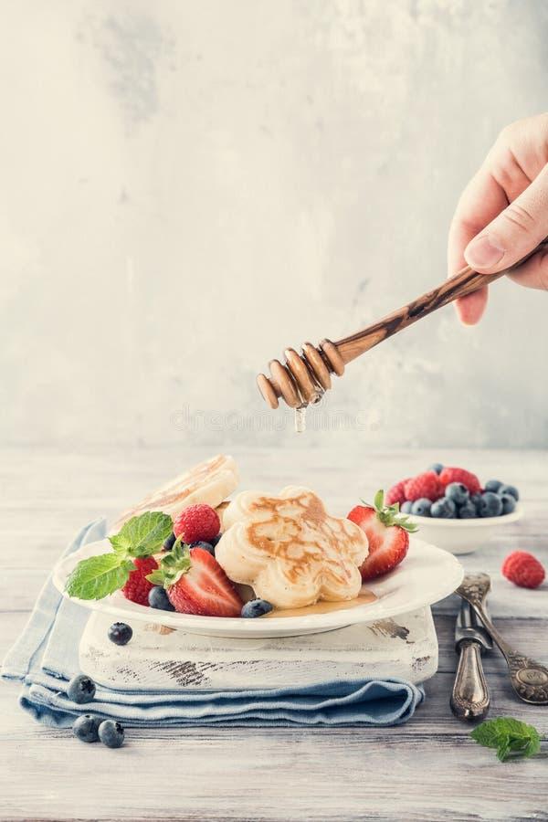 Breakfast with scotch pancakes stock photo