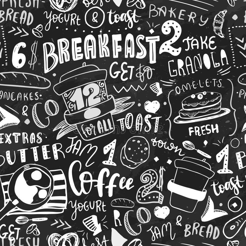 Breakfast seamless pattern design template. Modern lettering with sketch icons of food on chalkboard background stock illustration