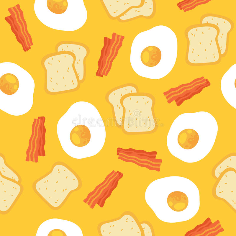 Seamless Breakfast Food Pattern With Egg And Bacon Stock