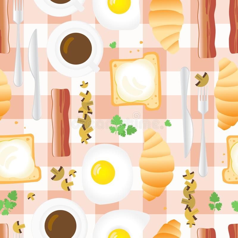 Breakfast Seamless Pattern in Flat Cartoon Style. Fried Eggs, Bacon, Mushrooms, Parsley, Coffee, Croissants, Bread and Butter on Gingham Background vector illustration