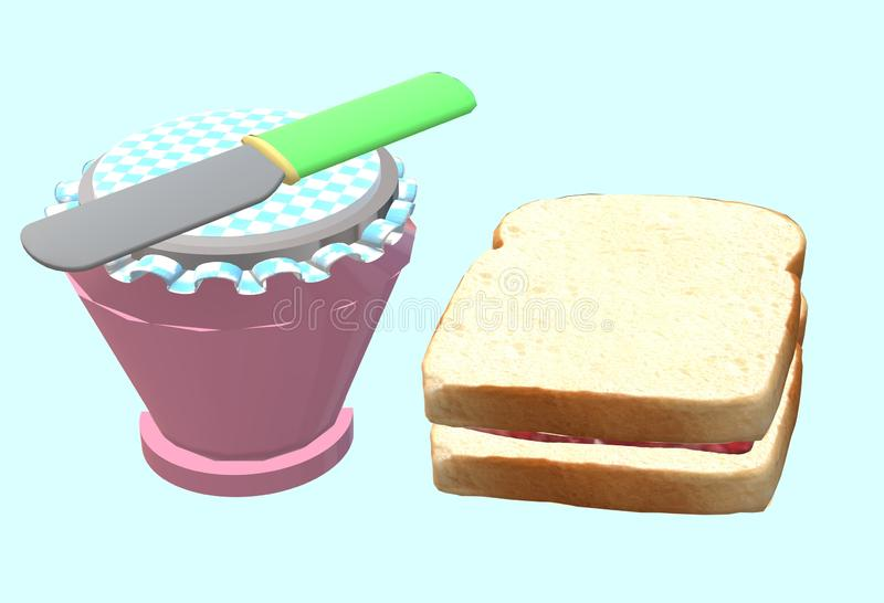 A breakfast serving of white bread and jam spread with a butter knife royalty free stock photos