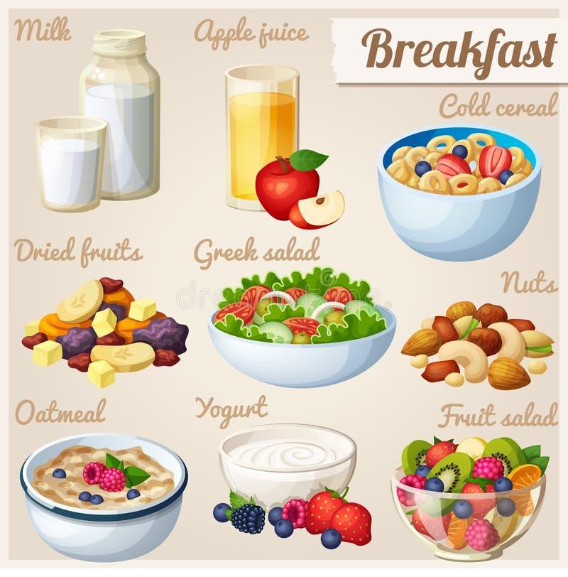 Breakfast 2. Set of cartoon vector food icons. Milk, apple juice, cold cereal, nuts, dried fruits, greek salad, oatmeal, yohurt fruit salad royalty free illustration