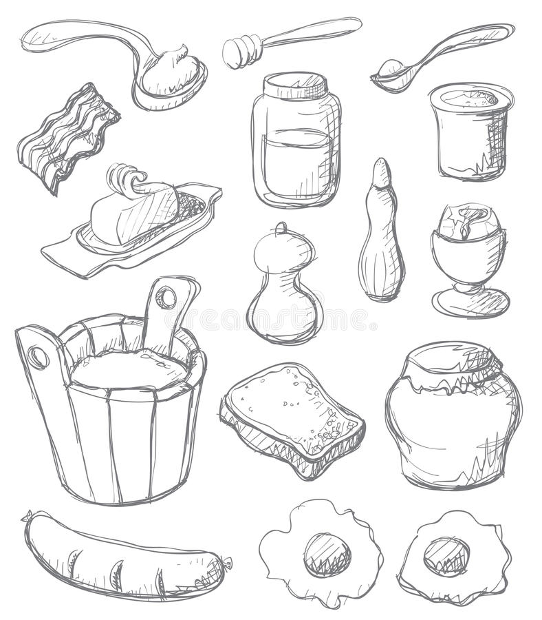 Download Breakfast set gray stock vector. Illustration of bread - 10732391