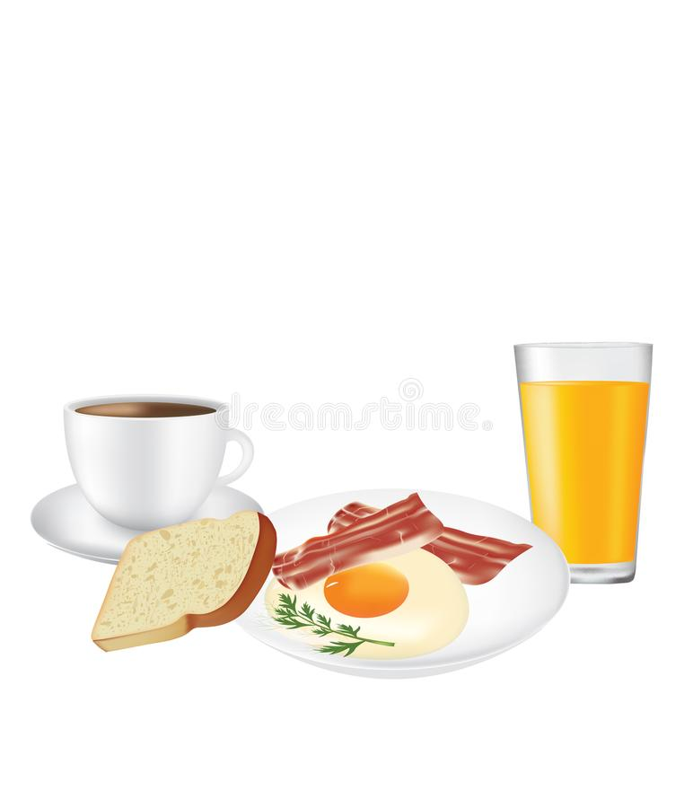 Breakfast set, plate with coffee and juice stock illustration
