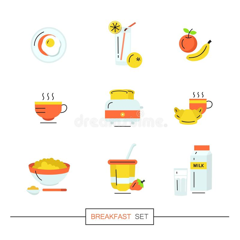 Breakfast - set of vector icons in flat style related to morning meal. stock images