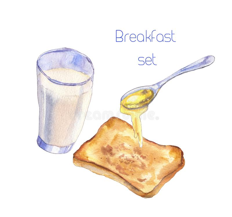 Breakfast set with milk, toast and honey royalty free illustration