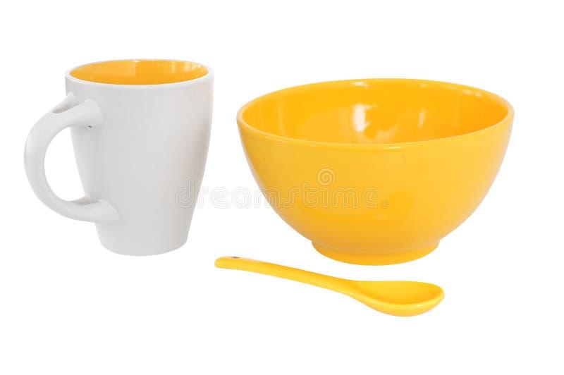 Download Breakfast set in yellow stock photo. Image of ceramic - 20493276